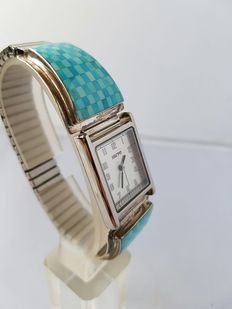 Navajo men's watch – With turquoise (Sleeping Beauty) – handmade by master R.B. – never worn