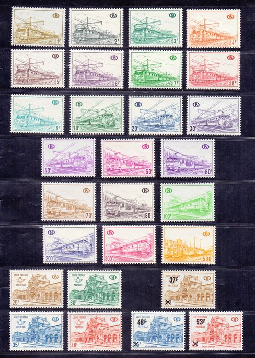 Belgium 1963/1976 - Collection of railway stamps - OBP TR374 through 422 and 428/432