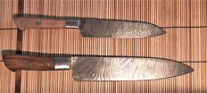 Set of 2 handmade cook's knives-1 medium Cook's knife and 1 fruit knife -200 + layers of Damask steel