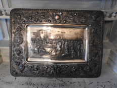 Repousse hammered silver plated wall plate - discovery of America by Columbus