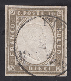 Sardinia 1855/63 - Single example and on fragment (Sass N. 14B and N. 13D)