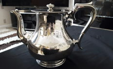Silver plated tea pot, engraved with the flag of the White Star Line shipping company.