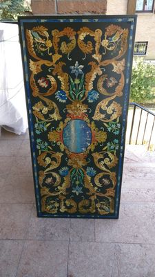 Rectangular top, inlaid with marble and semiprecious stones