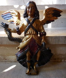 A carved gilt and polychrome wooden figure of Saint Michael - 18th century