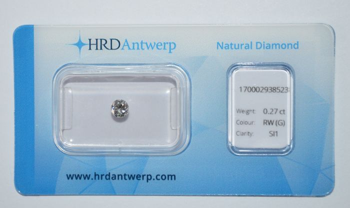 0.27 ct brilliant cut diamond, RW(G), SI1