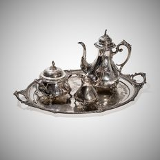 Large Silver Rococo Style Coffee Set, Germany, 19th C.