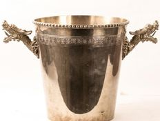 An early 20th century Japanese wine cooler, silver plated, with dragon head handles.
