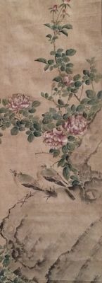 Birds and Roses by Hasegawa Gyokuhô 岸 竹堂 (1822-1879) - Old and very detailed scroll painting - Japan - ca. 1850