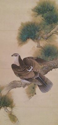 Hawk on Pine by Ide Gakusui (1899-1982). Very detailed large hand painted scroll painting on cloth - Japan - mid 20th century