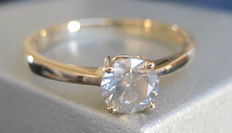 14K yellow Gold Solitaire Diamond Ring 0.52 ct- size 52