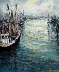 Jean Guy Beernaert (1928-1999)-Impressionistic Harbour view