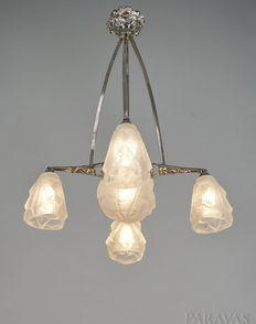 Degué - Art Deco Chandelier - Nickeled bronze and pressed glass