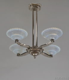 Laval And Ezan - Art Deco Chandelier - Nickeled bronze and opalescent glass