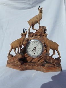 Beautiful barometer - wooden sculpture with three mountain goats.