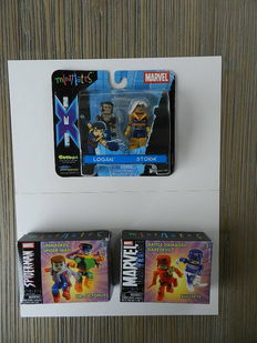 Marvel MiniMates - X-Men + Spiderman + Daredevil - 3x set, complete and in box - (2003)