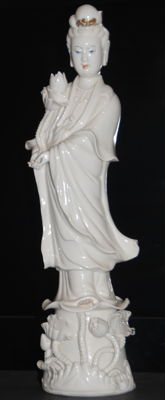 Large blanc de chine Guanyin statue - China - second half 20th century