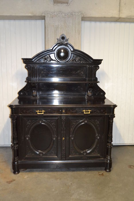 A Napoleon II black lacquered oak sideboard - France - circa 1870