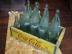 Coca cola crate of wood with bottles - crate dates from 1964