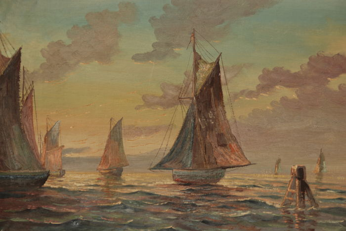 Unknown (20th century) - Sunset at the sea