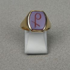 14 kt yellow gold signet ring, ring size 18 mm