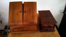 Two antique wooden notary cabinets and an Indian barber box, late 19th century