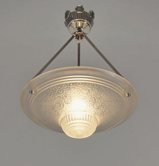 Muller Frères - Art Deco Chandelier - Nickeled solid brass and frosted pressed glass