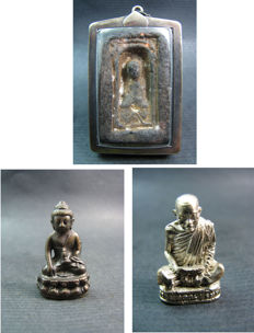 3 Buddhist amulets - Thailand - 1954, 1974 and 1993.