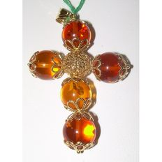 Pendant for women – cross in 18 kt yellow gold with Baltic amber