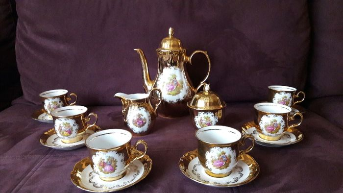 24 Carat Gold Plated 6 Person Mocca Service With Jk Decor Carlsbad