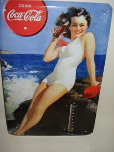Pin Up Girl - Metal Coca Cola Advertising Sign with thermometer - early 21st century