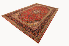 Fine Persian Kashan carper, 4.32 x 2.90, red hand-knotted in Iran, high-quality new wool oriental carpet, TOP CONDITION