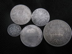 Pontifical States - Set of 5 coins 1853/1870 Pius IX - silver