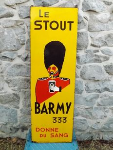 Enamelled plate, the Stout Barmy 333, give blood, 1960
