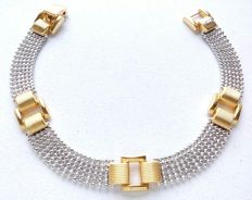 Bracelet made of 18 kt (750) white and yellow gold. Weight: 16.02 g