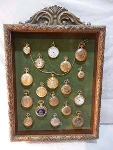 """Collection of 18 pocket watches copies in a Wooden showcase  """"Testimonies of the time"""",1990,Portugal"""