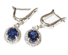 Pair of 1.60 ct Sapphire and 0.30 ct Diamond Earrings