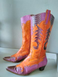 Very colourful Western ladies boots - vintage late 1980s
