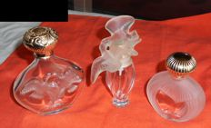 Lalique - Nina Ricci - lot of 3 empty bottles of perfume (2 rechargeable), France, 20th century