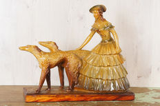 Art deco style sculpture, woman with two dogs (Arnova 600) - sculpture