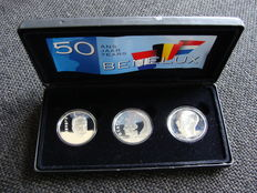 Belgium, Netherlands and Luxembourg - '50 Years Benelux' coffer containing 2 x 250 francs and 10 guilder 1994 - Silver