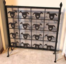 Two piece wrought iron fireplace screen, ca. 1960