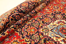 Fine Persian carpet Kashan 4.32 x 2.90 red handwoven in Iran high quality new wool Oriental carpet TOP CONDITION
