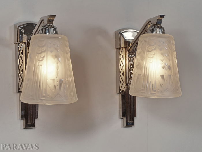 Muller Frères - Pair of French Art Deco wall lights - nickeled ...