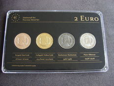"Latvia - 2 Euro 2014 ""Precious Metals"" (4 pieces) in set"