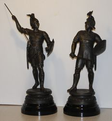 Impressive set of patinated metal images of warriors - France - ca. 1900