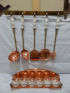 Vintage 5 Copper/Brass  and Ceramics Kitchen Utensil Set with 6 Spices Pots,1950´s/60´s,Portugal