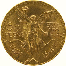 "Mexico - 50 Pesos 1947 ""Winged Victory"" - gold"