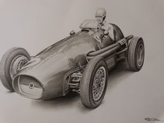 Ferrari - classic car, original drawing - 42 x 29 cm, Unique