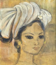 Painting by Han Snel (1925 - 1998) - Portrait of Beautiful Balinese Woman