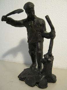 Jaap Hartman - Signed and numbered bronze sculpture - De Griendhakker